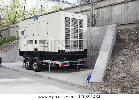 Commercial backup generator.Industrial Diesel Generator. Standby generator. Industrial Diesel Generator for Office Building. Backup Generator Power.