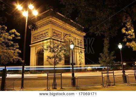 Beautiful night view of the Arc de Triomphe, Paris, France.