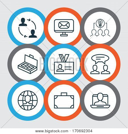 Set Of 9 Business Management Icons. Includes Collaborative Solution, Email, Cooperation And Other Symbols. Beautiful Design Elements.
