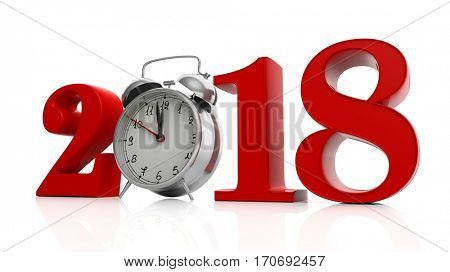Red 2018 with alarm clock isolated on white background. 3d illustration