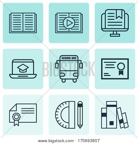 Set Of 9 Education Icons. Includes E-Study, Education Tools, Transport Vehicle And Other Symbols. Beautiful Design Elements.