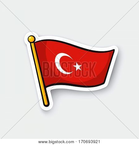 Vector illustration. Flag of Turkey on flagstaff. Location symbol for travelers. Cartoon sticker with contour. Decoration for greeting cards posters patches prints for clothes emblems