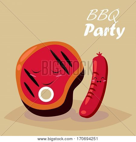 BBQ party. Beef steak and barbecue tools. Vector cartoon. Funny cartoon characters.