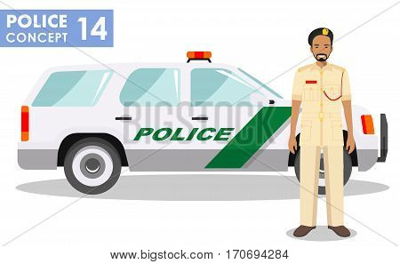 Detailed illustration of police car and arabic man police officer in flat style on white background.
