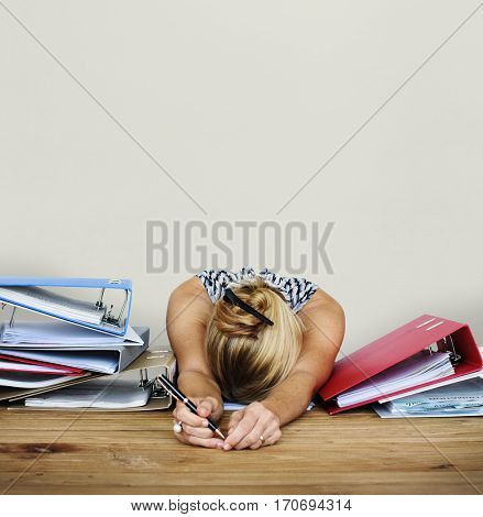 Woman Stress Overload Hard Working Studio Portrait