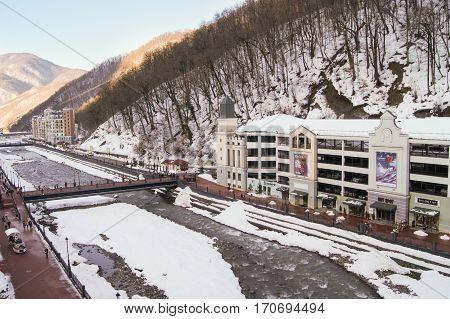 Sochi, Russia - 1 January, Winter mountain ski resort, 1 January, 2017. Winter mountain ski resort Rosa Khutor.
