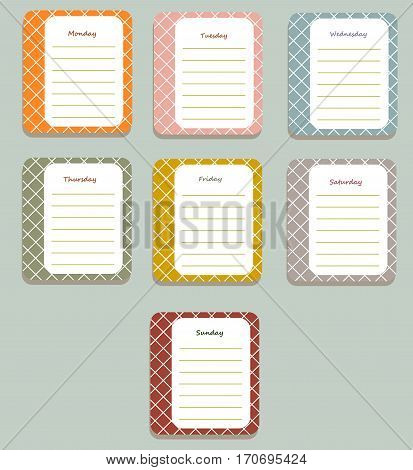 The sheets of the planner for weekly planning in a cute a pretty box with the names of the days of the week. Diary.Vector illustration.