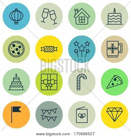 Set Of 16 Holiday Icons. Includes Flag Point, Festive Fireworks, Lollipop And Other Symbols. Beautiful Design Elements.