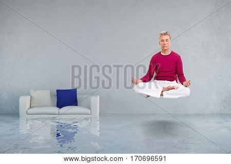 Relaxed man hovering over water damage after flooding (3D Rendering)