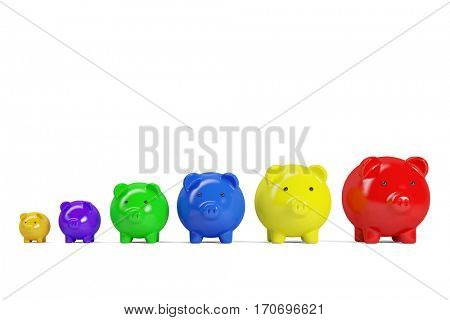 Row of colorful piggy banks as growth and finance concept (3D Rendering)