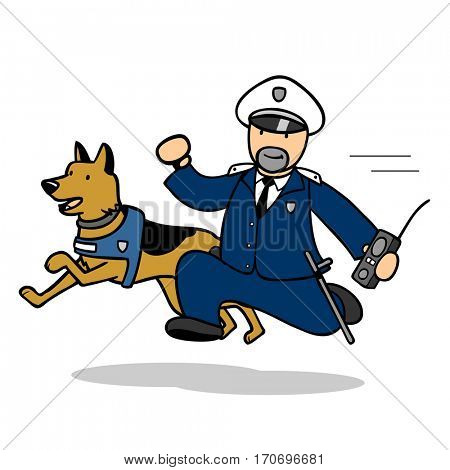 Cartoon cop with police dog running to emergency call