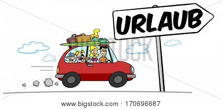 Cartoon family driving with car into summer vacation with German sign