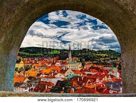 Aerial view to Cesky Krumlov, Czech Republic
