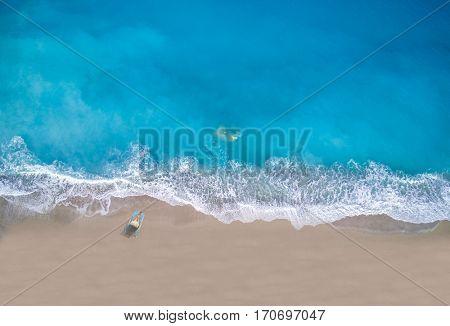 Aerial of Kathisma beach in Lefkada island Greece