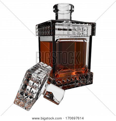 Decanter with whiskey on white background. 3D render