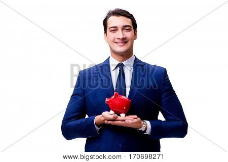 Handsome businessman with piggybank isolated on white