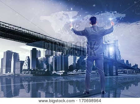 Businessman in global business concept
