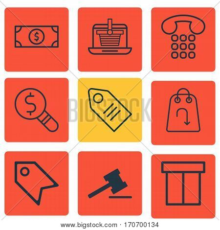 Set Of 9 E-Commerce Icons. Includes Box, Buck, Refund And Other Symbols. Beautiful Design Elements.
