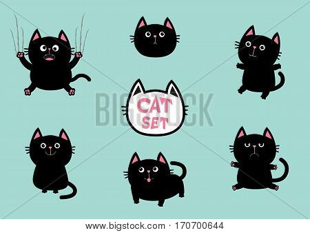 Black fat cat set. Cute cartoon screaming funny character. Nail claw scratch sitting smiling. Excoriation track line. Baby pet collection. Blue background. Isolated. Flat design Vector illustration