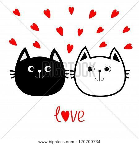 Black White contour Cat head couple family icon. Red heart set. Cute funny cartoon character. Valentines day Love word Greeting card. Kitty Whisker Baby pet collection background Isolated. Flat Vector