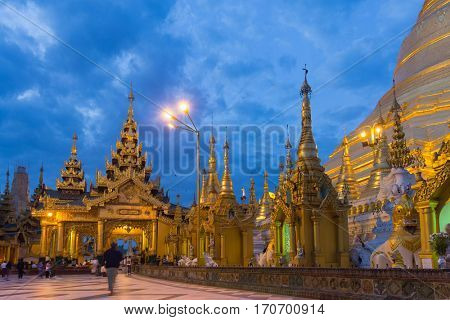 Dawn at the Shwedagon Pagoda in Rangoon, Myanmar