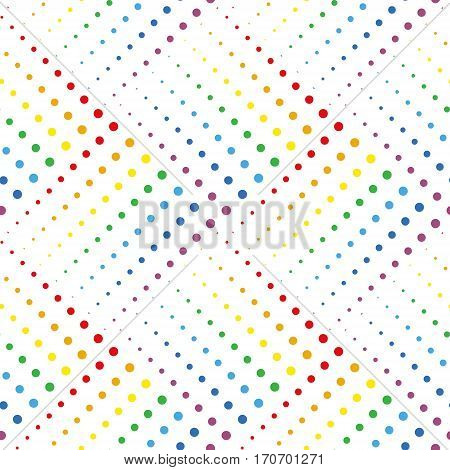 Dotted Line Geometric Seamless Pattern. Repeating Dotted Lines. Dots of the Different Size. Points Rainbow Colors. Vector Backdrop for Your Design. Texture Pattern Swatches Included in File.