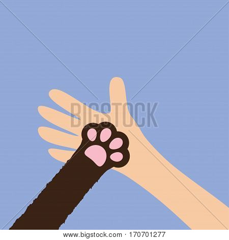 Hand arm holding cat dog paw print leg foot. Close up Help adopt animal pet donate concept. Friends forever. Veterinarian care Veterinary vet doctor Flat Violet background Isolated Vector illustration