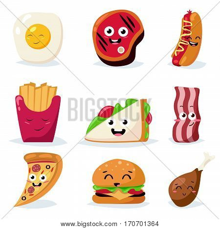 Fast food colorful emoticon face flat design icons set. Emoticon fast food funny elements vector character. Different emotions collection fast food characters smile fun steak bacon hot dog.