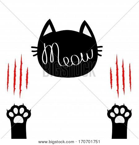 Black cat head. Meow lettering contour text. Two paw print leg foot. Bloody claws scratching animal Cute cartoon character silhouette. Baby pet collection. Flat design White background Isolated Vector