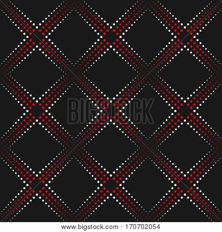 Dotted Line Geometric Seamless Pattern. Repeating Dotted Lines. Dots of the Different Size. Red Black and White. Vector Backdrop for Your Design. Texture Pattern Swatches Included in File.
