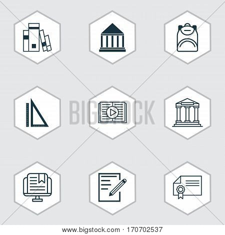 Set Of 9 School Icons. Includes Taped Book, College, E-Study And Other Symbols. Beautiful Design Elements.