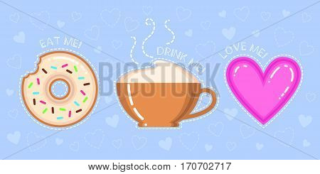 vector illustration of donut with glaze cappuccino cup pink heart and text