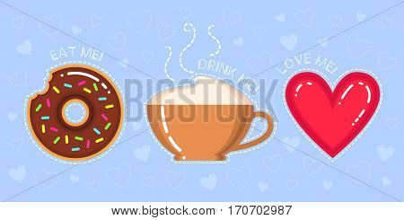 vector illustration of donut with chocolate glaze cappuccino cup red heart and text