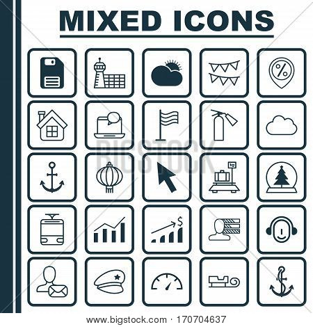 Set Of 25 Universal Editable Icons. Can Be Used For Web, Mobile And App Design. Includes Elements Such As Traditional Lamp, Ship Hook, Anchor And More.