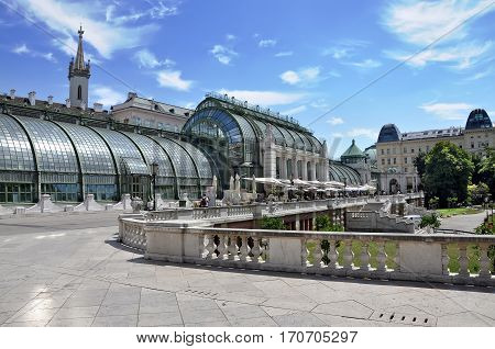Palm house and butterfly house (german:Schmetterlinghaus) in Hofburg. Vienna Austria.