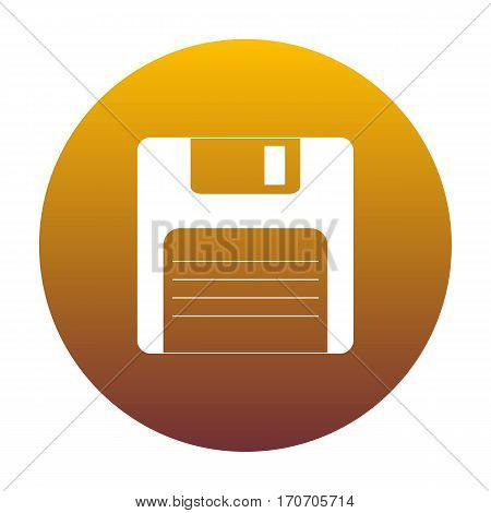 Floppy disk sign. White icon in circle with golden gradient as background. Isolated.