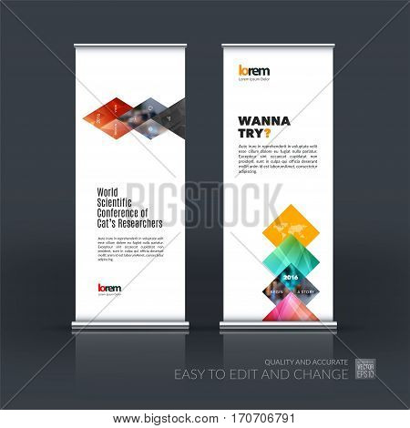 Abstract business vector set of modern roll Up Banner stand design template with red geometric shapes, triangles, rhombus for exhibition, show, exposition, expo, presentation, parade, events.