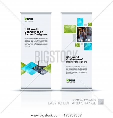 Abstract business vector set of modern roll Up Banner stand design template with green geometric shapes, triangles, rhombus for exhibition, show, exposition, expo, presentation, parade, events.