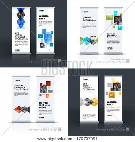 Abstract business vector set of modern roll Up Banner stand design template with colourful geometric shapes, triangles, rhombus for exhibition, show, exposition, expo, presentation, parade, events.