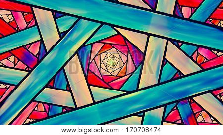 Colorful stained glass fractal teal and orange cinematic style computer generated abstract background 3D render