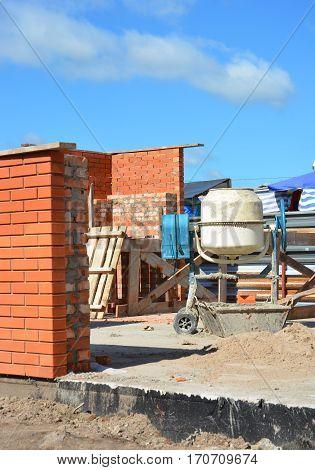 Construction Site with Concrete Mixer. Cement Mixer for Construction Job