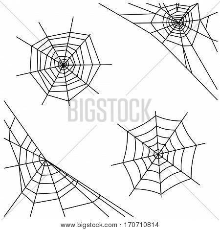 Spider web set isolated on white background. Vector illustration
