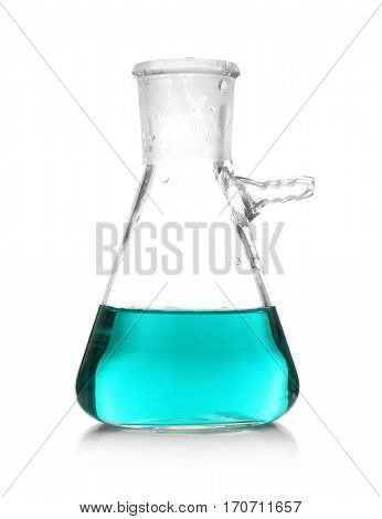 Test flask with blue sample isolated on white