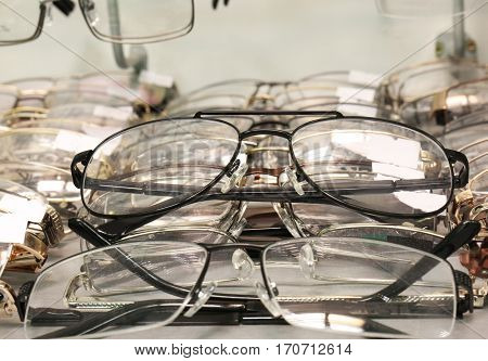 Showcase with spectacles closeup