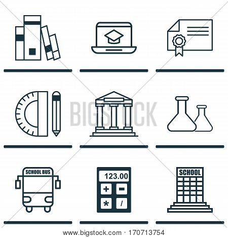 Set Of 9 Education Icons. Includes Transport Vehicle, Chemical, College And Other Symbols. Beautiful Design Elements.
