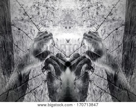 Artistic surreal tortured hands grasping desperately barbed wire (infrared) poster