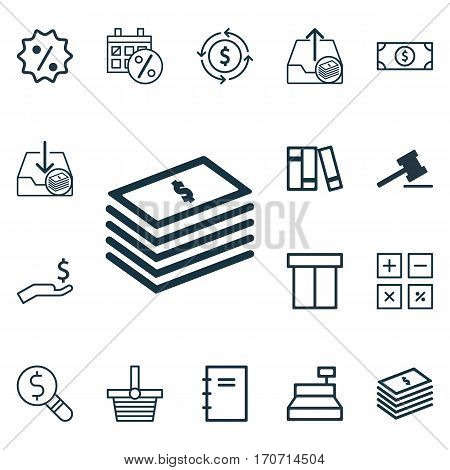 Set Of 16 Ecommerce Icons. Includes Outgoing Earnings, Finance, Rich And Other Symbols. Beautiful Design Elements.