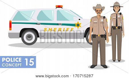 Couple of american police people and police car isolated on white background. Set of USA policeman and policewoman standing together. Cute and simple in flat style.