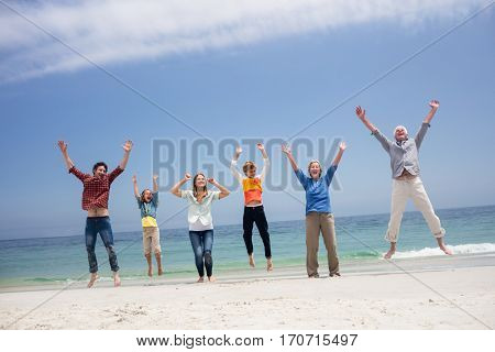 Family dancing on beach on a sunny day