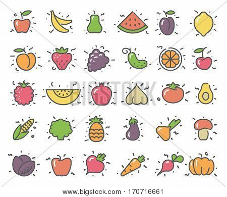 Simple stylized icons of vegetables and fruits